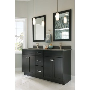 contemporary black shaker door bathroom cabinet with two mirrors