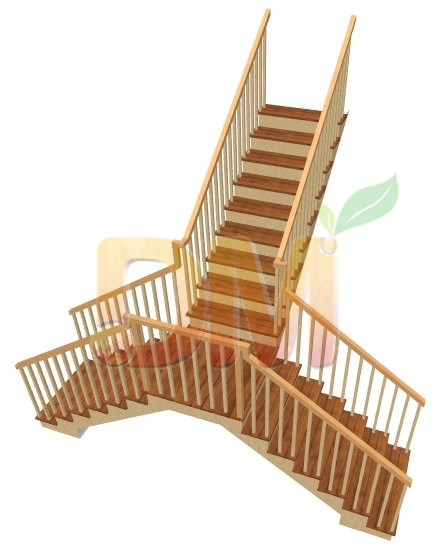 Double sides handrails wood staircases from China Decor Wood
