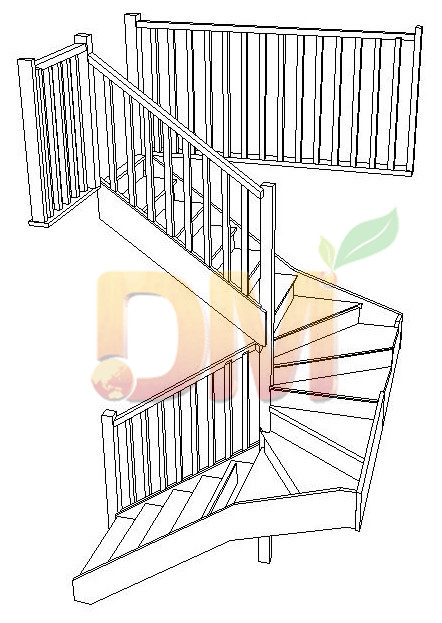 L shaped wood staircases from China Decor Wood